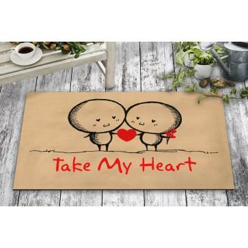 Take My Heart Tasarım Kapı Önü ve Ev İçi Paspas 45x75 cm