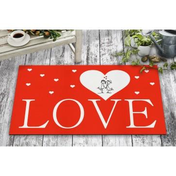 Love Kalp Tasarım Kapı Önü ve Ev İçi Paspas 45x75 cm