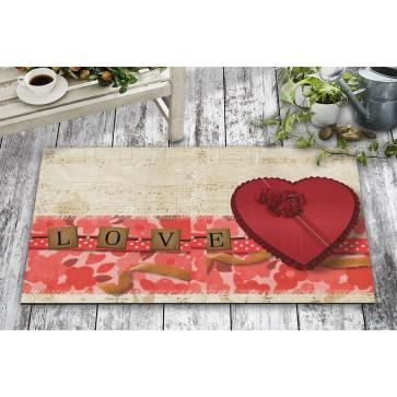 Sevgililer Günü Kalp Kutu Tasarım Kapı Önü ve Ev İçi Paspas 45x75 cm