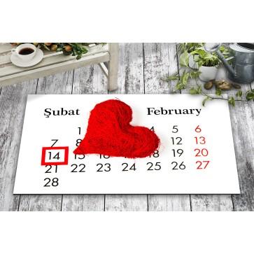 Takvim Kalp 14 Şubat Tasarım Kapı Önü ve Ev İçi Paspas 45x75 cm