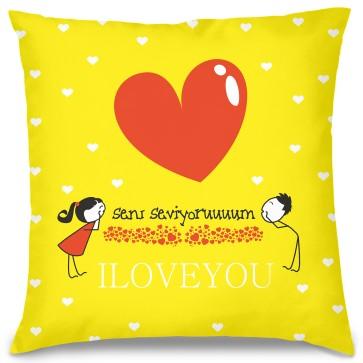 Seni Seviyorum Tasarım Kırlent Yastık 40x40 cm