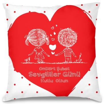 14 Şubat Kalp Tasarım Kırlent Yastık 40x40 cm