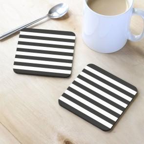 Siyah Beyaz Tasarım MDF Bardak Altlığı 10x10 cm