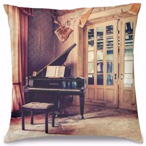 Vintage Piyano Tasarım Kırlent Yastık 40x40 cm