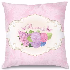 Pembe Çiçekler Tasarım Kırlent Yastık 40x40 cm