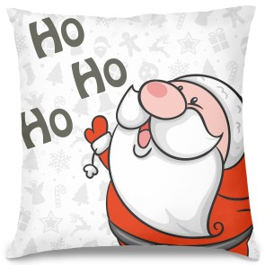 Ho Ho Ho Noel Baba Tasarım Kırlent Yastık 40x40 cm