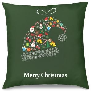 Merry Christmas Şapka Tasarım Kırlent Yastık 40x40 cm
