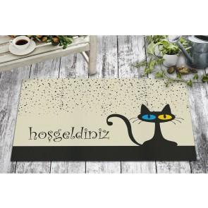 Sevimli Karşılama Kedi Tasarım Kapı Önü ve Ev İçi Paspas 45x75 cm