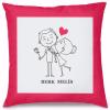 Mutlu Sevgililer Tasarım Kırlent Yastık 40x40 cm