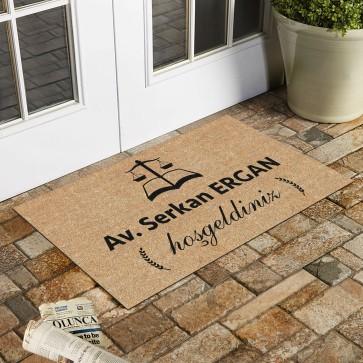 Kişiye Özel Avukat Hoşgeldiniz Kapı Önü ve Ev İçi Paspas 45x75 cm