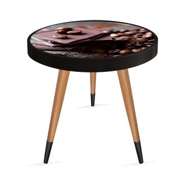 Kakao Tasarım Modern Ahşap Yan Sehpa Yuvarlak Ø45cm