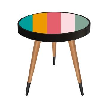 Renkli Şeritler Tasarım Modern Ahşap Yan Sehpa Yuvarlak Ø45cm