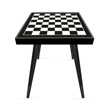 Siyah Beyaz Satranç Tasarım Modern Ahşap Yan Sehpa Kare 45x45 cm