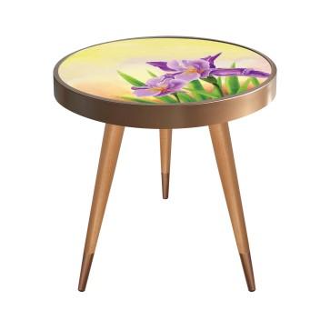 Mor Çiçek Tasarım Modern Ahşap Yan Sehpa Yuvarlak Ø45cm