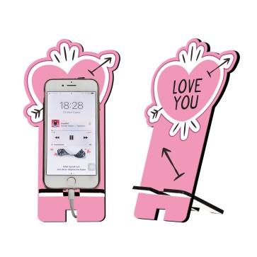 Love You Tasarım Ahşap Telefon Standı