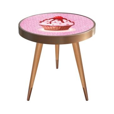 Cupcake Tasarım Modern Ahşap Yan Sehpa Yuvarlak Ø45cm