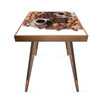 Çikolata Kahve Tasarım Modern Ahşap Yan Sehpa Kare 45x45 cm