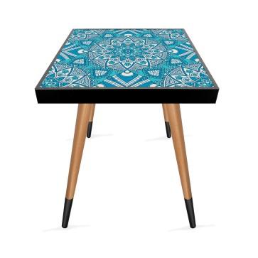 Mavi Mandala Tasarım Modern Ahşap Yan Sehpa Kare 45x45 cm