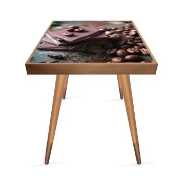 Çikolata Tasarım Modern Ahşap Yan Sehpa Kare 45x45 cm