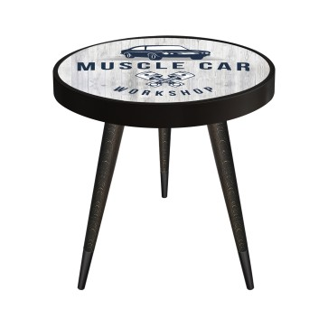 Muscle Car Tasarım Modern Ahşap Yan Sehpa Yuvarlak Ø45cm