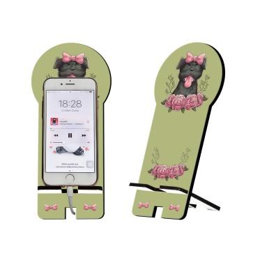 Tatlı Köpek Tasarım Ahşap Telefon Standı