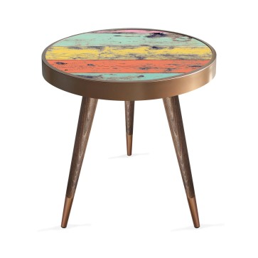 Renkli Ahşap Tasarım Modern Ahşap Yan Sehpa Yuvarlak Ø45cm