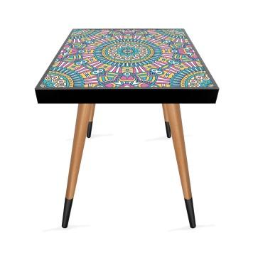 Renkli Mandala Tasarım Modern Ahşap Yan Sehpa Kare 45x45 cm