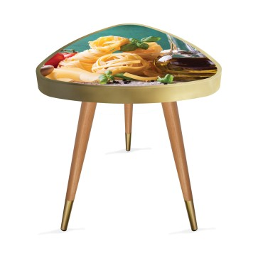 Mutfak 1 Tasarım Modern Ahşap Yan Sehpa Üçgen 45Ø