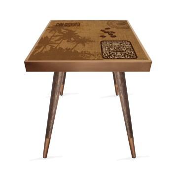 Kahve Çekirdekleri Tasarım Modern Ahşap Yan Sehpa Kare 45x45 cm