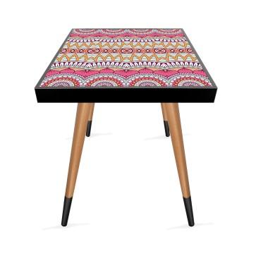Pembe Mandala Tasarım Modern Ahşap Yan Sehpa Kare 45x45 cm