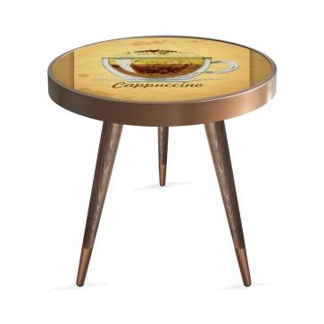 Cappuccino Coffee Tasarım Modern Ahşap Yan Sehpa Yuvarlak Ø45cm