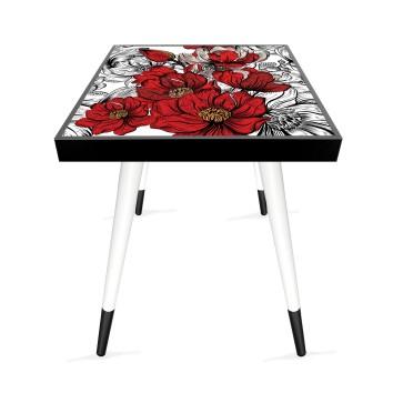 Çizim Çiçek Tasarım Modern Ahşap Yan Sehpa Kare 45x45 cm
