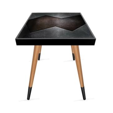 Metal Doku Tasarım Modern Ahşap Yan Sehpa Kare 45x45 cm