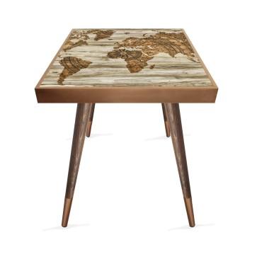 Harita Tasarım Modern Ahşap Yan Sehpa Kare 45x45 cm