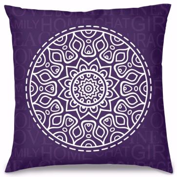 Mor Mandala Tasarım Kırlent Yastık 40x40 cm