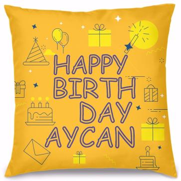 Happy Birthday Tasarım Kırlent Yastık 40x40 cm
