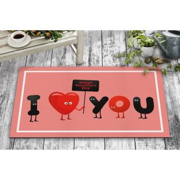 I Love You Tasarım Kapı Önü ve Ev İçi Paspas 45x75 cm