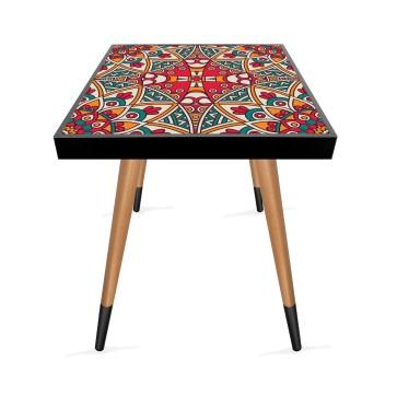 Kırmızı Mandala Tasarım Modern Ahşap Yan Sehpa Kare 45x45 cm