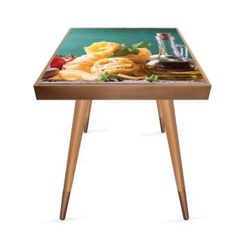 Spagetti Tasarım Modern Ahşap Yan Sehpa Kare 45x45 cm