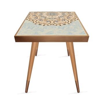 Mandala Tasarım Modern Ahşap Yan Sehpa Kare 45x45 cm