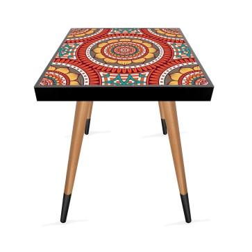 Dairesel Mandala Tasarım Modern Ahşap Yan Sehpa Kare 45x45 cm