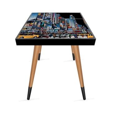 Şehir Tasarım Modern Ahşap Yan Sehpa Kare 45x45 cm