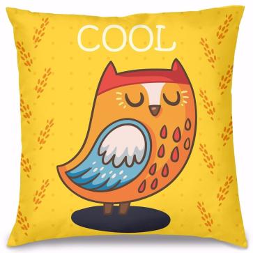 Cool Baykuş Tasarım Kırlent Yastık 40x40 cm