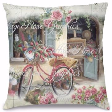Vintage Çiçekli Bisiklet Tasarım Kırlent Yastık 40x40 cm