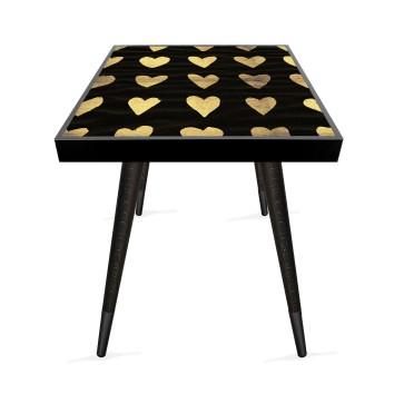 Kalp Tasarım Modern Ahşap Yan Sehpa Kare 45x45 cm