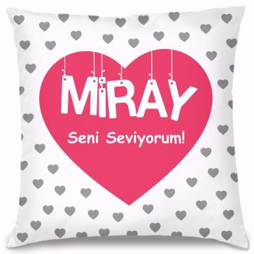 Romantik Kalp Tasarım Kırlent Yastık 40x40 cm