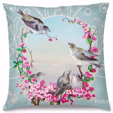 Haberci Kuşlar Tasarım Kırlent Yastık 40x40 cm