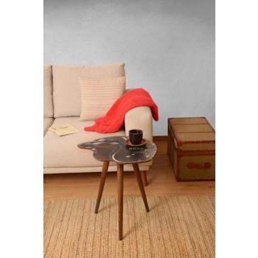 Kask Tasarım Baskılı Modern Ahşap Yan Sehpa 45x50 cm