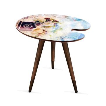 Palet Tasarım Baskılı Modern Ahşap Yan Sehpa 45x55 cm