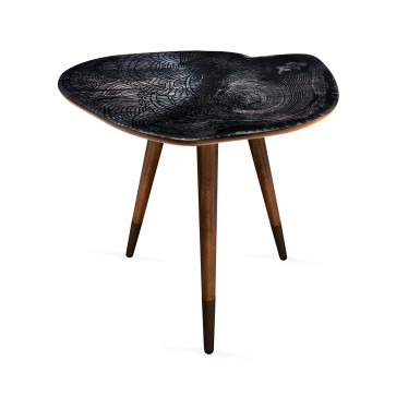 Mandala Tasarım Baskılı Modern Ahşap Yan Sehpa 40x55 cm
